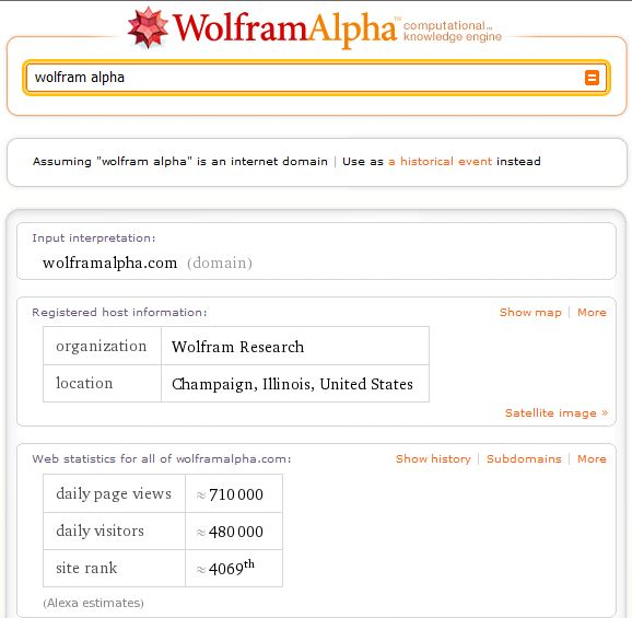 Wolfram Alpha domain