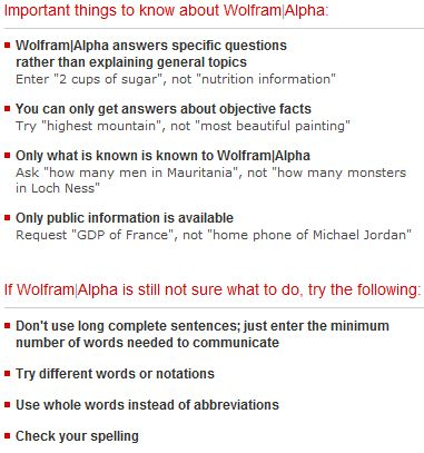 Wolfram Alpha Help Tips